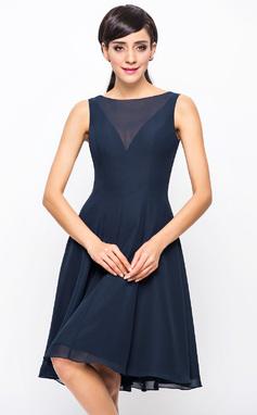 Vestidos princesa/ Formato A Decote redondo Coquetel De chiffon Vestido de madrinha (007054329)