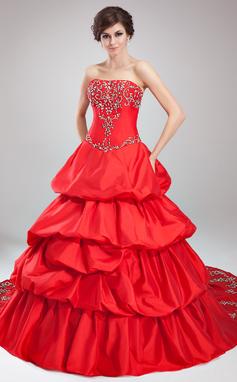 Платье для Балла Без лямок Собор поезд Тафта Пышное платье с Вышито Рябь Бисер (021003129)