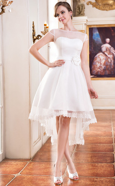 A-Line/Princess Scoop Neck Asymmetrical Organza Wedding Dress With Lace Beading Flower(s) (002055226)