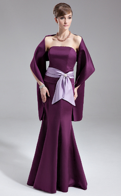 Trumpet/Mermaid Strapless Floor-Length Satin Bridesmaid Dress With Sash Crystal Brooch Bow(s) (007000967)