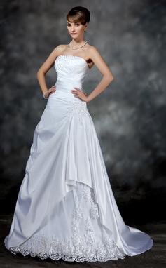 Forme Princesse Sans bretelle Traîne moyenne Satiné Robe de mariée avec Plissé Emperler Motifs appliqués Dentelle (002017181)