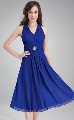 Vestidos princesa/ Formato A Decote V Coquetel De chiffon Vestido de madrinha com Pregueado Pino flor crystal (007021104)