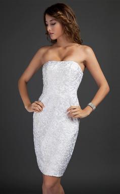 Платье-чехол Без лямок Длина до колен кружева Коктейльные Платье (016015346)