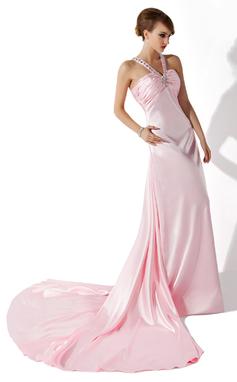 A-Line/Princess V-neck Watteau Train Charmeuse Prom Dress With Ruffle Beading (018135257)