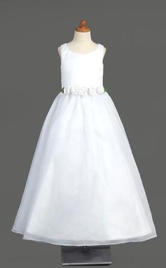 A-Line/Princess Floor-length Flower Girl Dress - Organza Sleeveless Scoop Neck With Flower(s) (010005904)
