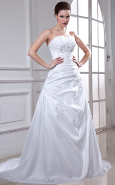 A-Line/Princess Scalloped Neck Chapel Train Taffeta Wedding Dress With Ruffle Beading Appliques Lace Sequins (002011934)