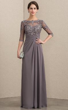 Vestidos princesa/ Formato A Decote redondo Longos Tecido de seda Renda Vestido para a mãe da noiva com Beading lantejoulas (008152153)
