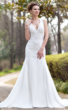 Trumpet/Mermaid Halter Chapel Train Chiffon Wedding Dress With Ruffle Lace Beading (002012033)