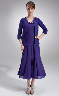 A-Line/Princess Scoop Neck Tea-Length Chiffon Mother of the Bride Dress With Ruffle Beading Sequins (008005996)