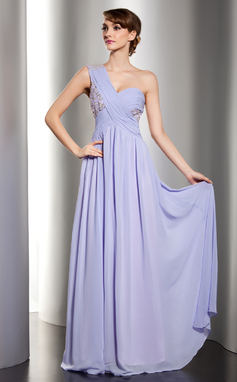 A-Linie/Princess-Linie Eine Schulter Bodenlang Chiffon Festliche Kleid mit Rüschen Spitze Perlstickerei Pailletten (020014529)