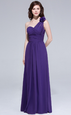 A-Line/Princess One-Shoulder Floor-Length Chiffon Bridesmaid Dress With Ruffle Flower(s) (007037272)