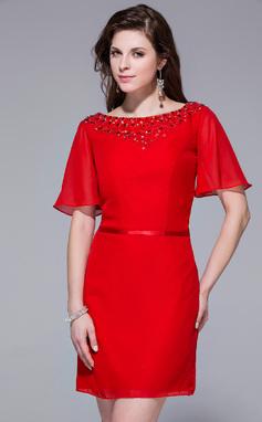 Vestido tubo Escote redondo Corto/Mini Chifón Baile de promoción con Bordado (016025456)