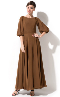 Vestidos princesa/ Formato A Decote redondo Longuete De chiffon Vestido para a mãe da noiva (008042823)