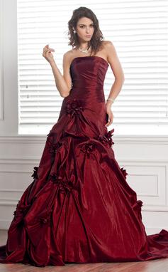 Ball-Gown Strapless Chapel Train Taffeta Wedding Dress With Ruffle Flower(s) (002000481)