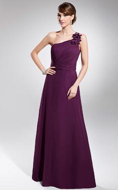 Forme Princesse Encolure asymétrique Longueur ras du sol Mousseline Robe de soirée avec Plissé (017014740)