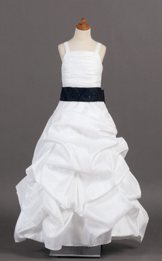 A-Line/Princess Floor-length Flower Girl Dress - Taffeta Sleeveless With Ruffles/Sash/Pick Up Skirt (010005776)