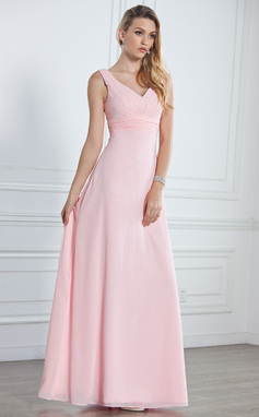 Empire V-neck Floor-Length Chiffon Bridesmaid Dress With Ruffle (007001785)