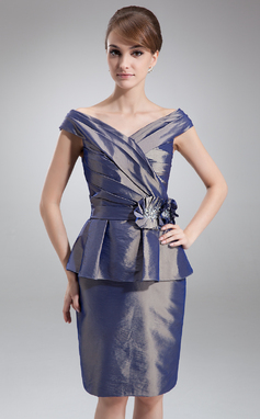 Sheath/Column Off-the-Shoulder Knee-Length Taffeta Mother of the Bride Dress With Beading Flower(s) Cascading Ruffles (008006466)