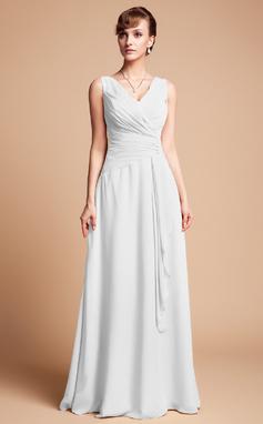 Трапеция/Принцесса V-образный Длина до пола шифон Платье Для Матери Невесты с Бисер Ниспадающие оборки (008003181)