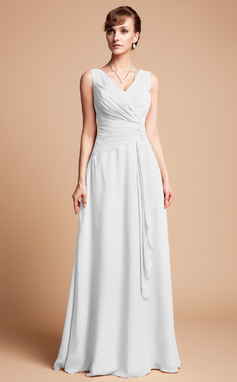 A-Line/Princess V-neck Floor-Length Chiffon Mother of the Bride Dress With Beading Cascading Ruffles (008003181)