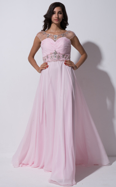 A-Line/Princess Scoop Neck Sweep Train Chiffon Tulle Prom Dress With Ruffle Beading Sequins (018055265)