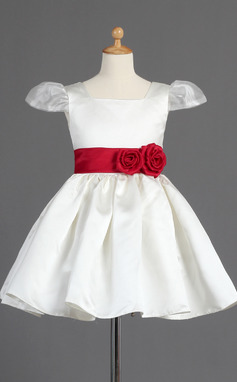 A-Line/Princess Knee-length Flower Girl Dress - Organza/Satin Short Sleeves Square Neckline With Sash/Flower(s) (010014597)