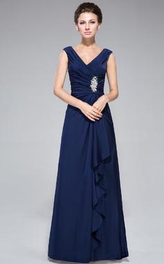 Etui-Linie V-Ausschnitt Bodenlang Jersey Kleid für die Brautmutter mit Perlen verziert Pailletten Gestufte Rüschen (008042328)