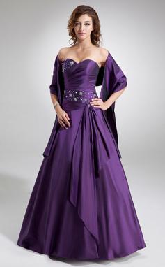 A-Linie/Princess-Linie Herzausschnitt Bodenlang Taft Quinceañera Kleid (Kleid für die Geburtstagsfeier) mit Rüschen Perlen verziert (021020577)