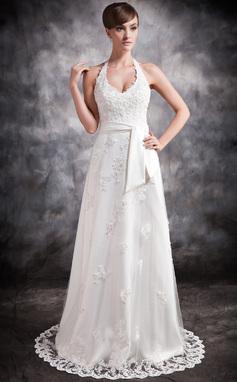 Forme Princesse Dos nu Traîne moyenne Tulle Robe de mariée avec Emperler Motifs appliqués Dentelle (002016896)