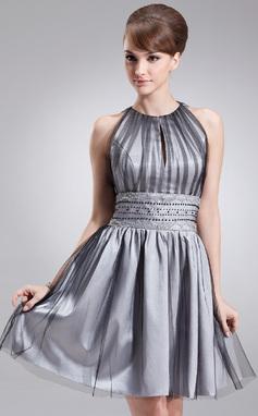 Vestidos princesa/ Formato A Decote redondo Coquetel Tule Vestido de boas vindas com Pregueado Bordado (022020684)