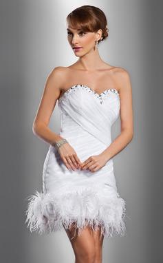 Sheath/Column Sweetheart Short/Mini Satin Organza Wedding Dress With Ruffle Beading Feather Flower(s) (002012076)
