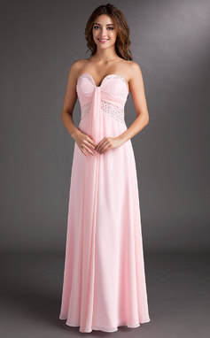 A-Line/Princess Sweetheart Floor-Length Chiffon Prom Dress With Ruffle Beading (018004853)