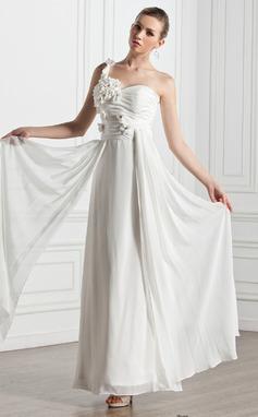 Forme Princesse Bustier en coeur Encolure asymétrique Longueur cheville Mousseline Robe de mariée avec Plissé Fleur(s) (002005272)