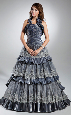 Ball-Gown Halter Sweep Train Taffeta Prom Dress With Lace Cascading Ruffles (018135356)