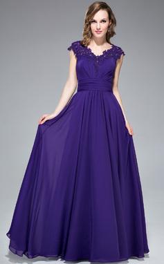A-Linie/Princess-Linie V-Ausschnitt Bodenlang Chiffon Abendkleid mit Rüschen Perlen verziert Applikationen Spitze Pailletten (017053558)