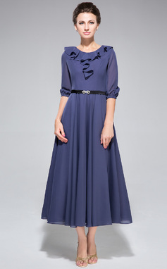 A-Line/Princess Scoop Neck Tea-Length Chiffon Mother of the Bride Dress With Sash Cascading Ruffles (008042829)