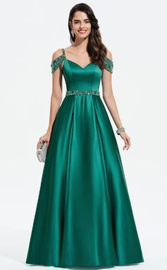 Платье Для Балла/Принцесса V-образный Длина до пола Атлас Вечерние Платье с развальцовка блестки (017196078)
