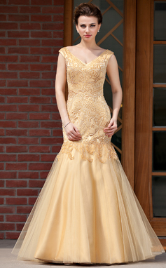 Trumpet/Mermaid V-neck Floor-Length Satin Tulle Mother of the Bride Dress With Beading (008018982)