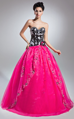 Ball-Gown Sweetheart Floor-Length Organza Prom Dress With Beading Appliques Lace Flower(s) Sequins (018135350)