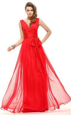 A-Linie/Princess-Linie V-Ausschnitt Bodenlang Chiffon Festliche Kleid mit Rüschen Schleife(n) (020016067)
