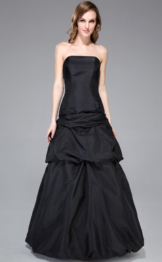 A-Line/Princess Strapless Floor-Length Taffeta Bridesmaid Dress With Ruffle Bow(s) (018047250)