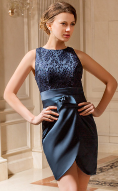Sheath/Column Scoop Neck Short/Mini Satin Lace Mother of the Bride Dress With Ruffle (008024439)