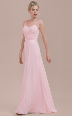 A-Line/Princess Sweetheart Floor-Length Chiffon Bridesmaid Dress With Ruffle (007116628)