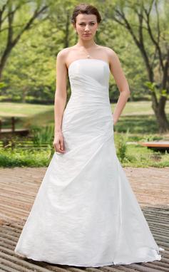 A-linjeformat Axelbandslös Golvlång Taft Bröllopsklänning med Rufsar (002011771)