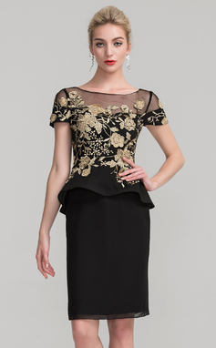 Sheath/Column Scoop Neck Knee-Length Chiffon Mother of the Bride Dress With Lace Cascading Ruffles (008114248)