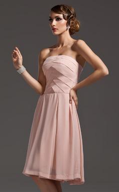 Vestidos princesa/ Formato A Sem Alças Coquetel De chiffon Vestido de boas vindas com Pregueado (022007273)