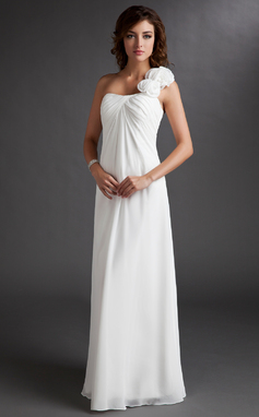 Empire One-Shoulder Floor-Length Chiffon Bridesmaid Dress With Ruffle Flower(s) (007016719)