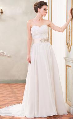 A-Line/Princess Sweetheart Court Train Chiffon Wedding Dress With Ruffle Sash Beading Sequins (002055087)