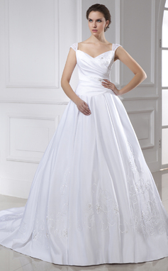 Ball-Gown V-neck Chapel Train Satin Wedding Dress With Embroidered Ruffle (002015466)