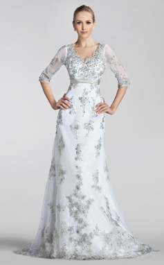 A-Line/Princess V-neck Court Train Tulle Wedding Dress With Beading Appliques Lace Sequins Bow(s) (002004151)